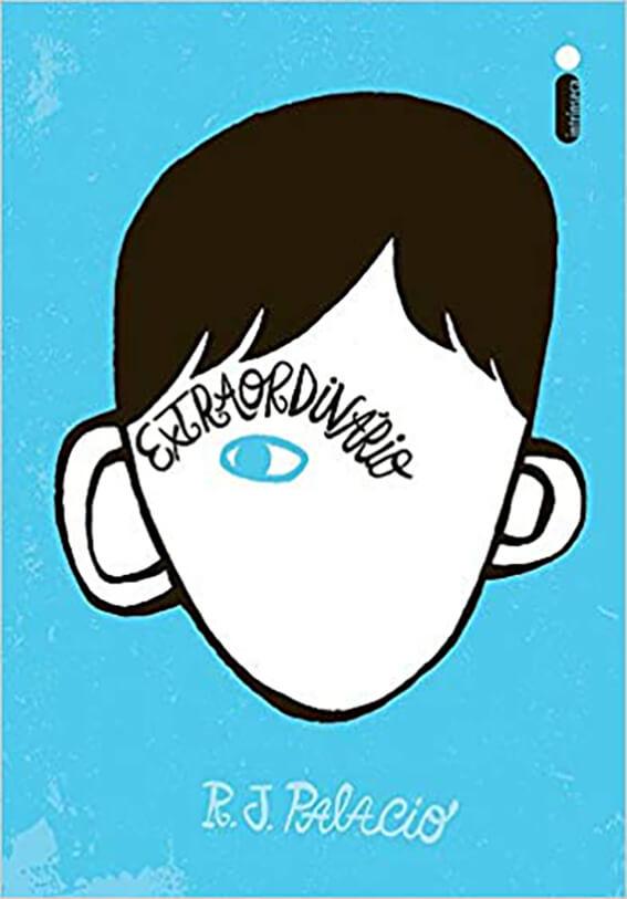 Rosto do August em um fundo azul. Capa do livro.