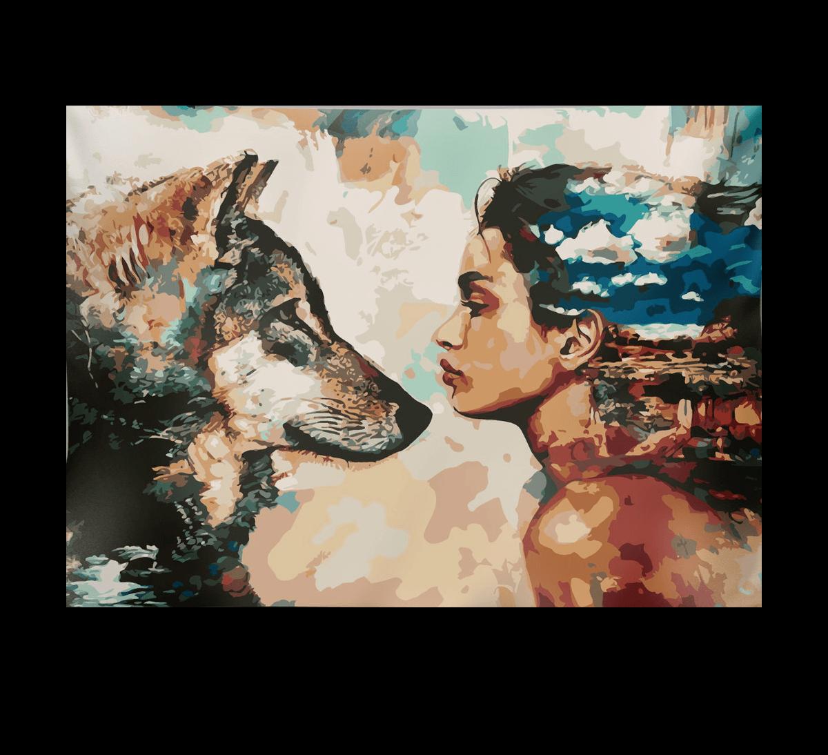 Loba à esquerda, mulher com cabelos ao vento à direita, plano de fundo mesclado; a mulher selvagem é espelho da loba, porque MULHERES CORREM COM OS LOBOS